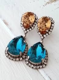 teal and topaz crystal earrings dark teal and smokey brown chandelier earrings bridal earring dangle earring