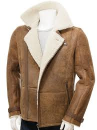 mens sheepskin biker jacket in brown bickingcott open