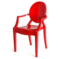 hot red ghost style plastic louis armchair