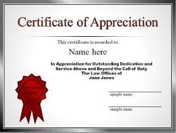 Sample Of Appreciation Certificates 30 Free Certificate Of Appreciation Templates And Letters
