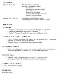 skills and experience cv