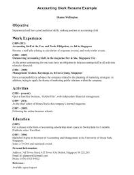 Examples Of Accounting Clerk Resume Sample Objective Work Experience