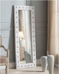 white floor mirror. White Tufted Leather Upholstered Modern Standing Floor Mirror B