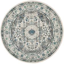 safavieh evoke gray ivory 7 ft x 7 ft round area rug