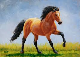 horse painting buckskin horse morning run by crista forest