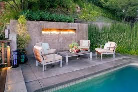 outdoor gas fireplace patio contemporary with bamboo built in fireplace concrete image by jwt associates