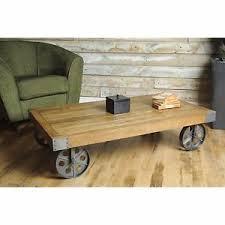 industrial furniture wheels. Image Is Loading Vintage-Industrial-Coffee-Table-Furniture -Rustic-Wooden-Top- Industrial Furniture Wheels