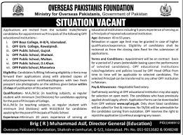 jobs for principals required in overseas foundation