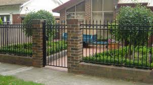 Enchanting Wrought Iron And Brick Fence Designs Including Design