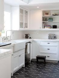 white kitchen tile floor. Contemporary White Black Tiles In White Kitchen Tile Floor