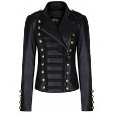 stylish stand collar long sleeve studded faux leather women s black jacket black m
