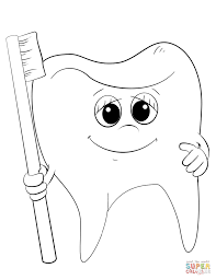 Small Picture Cartoon Tooth and Toothbrush coloring page Free Printable