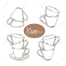 vintage tea cups vector. Fine Tea Collection Of Tea Cups In Vintage Style Vector Illustration Stock Vector   69809198 To Vintage Tea Cups N