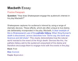 macbeth introduction essay paragraph bbc higher bitesize english critical essay paper revision page5 macbeth