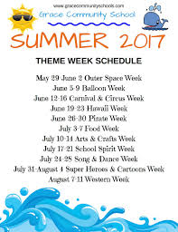 Summer Camp Weekly Schedule Grace Community School Summer Camp 2017 Official Grace Community