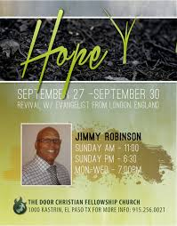 revival evangelist jimmy robinson the door christian church jimmy flyer