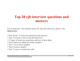 Top Ejb Interview Questions And Answers Job Interview Tips