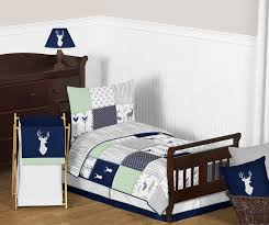 navy blue mint and grey woodsy deer boy toddler bedding 5pc set by sweet