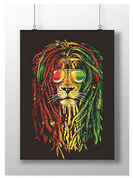 Bob Marley Lion Poster Jamaica Music Legend Trippy Rasta Art