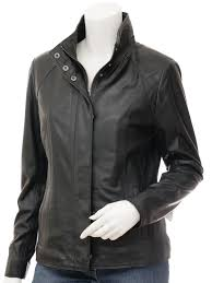 womens leather jacket in black bryant front