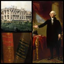 burning of white house and washington portrait