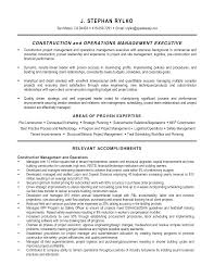 resume of experienced construction manager resume for study