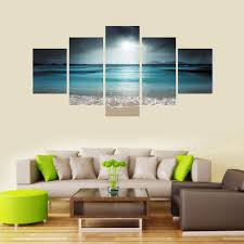 Paintings For Living Room Walls Aliexpresscom Buy 5 Panel Seascape Canvas Painting Sea Wave