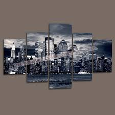 unframed wall decor canvas painting city custom canvas print 5 piece wall art pictures print
