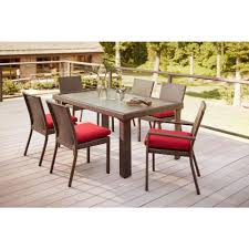 patio dining: beverly  piece patio dining set with cardinal cushion