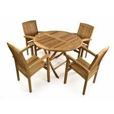 brown 4 seater wooden garden table set