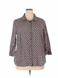 Jcpenney Dress Shirt Size Chart Details About Jcpenney Women Blue Long Sleeve Blouse 2x Plus