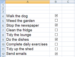 Todo List In Excel How To Create Align And Use A Check Box For A To Do List