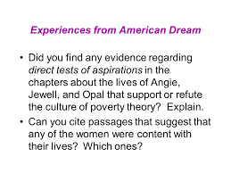 the underclass culture and race today s reading schiller ch  experiences from american dream did you any evidence regarding direct tests of aspirations in the