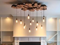 custom made extra large live edge olive wood chandelier rustic and industrial light fixture