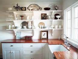 open kitchen shelves decorating ideas double bowl sink cream area ceramic floor nickel chrome bar stool metal swing faucet natural wood cabinet set