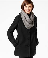 calvin klein wool cashmere single ted peacoat with free infinity scarf