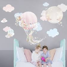 magic balloon removable wall stickers with 2 little girls sitting in front