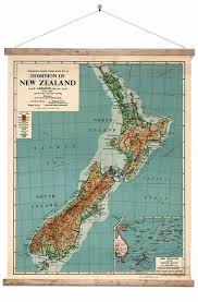 New Zealand Vintage Chart Vintage Dominion Of New Zealand Map Ready To Hang 3 Sizes