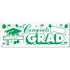 12 Case Beistle Congrats Grad Green And White Signs And Banners