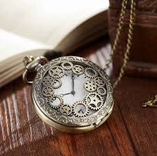 vintage the gear hollow half hunter men women pocket watch retro necklace watch