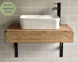 High Quality The Floating Beam Shelf Wash Stand Hand Crafted Rustic Bathroom Vanity Unit  Wooden Vanity Industrial With Brackets Shelving