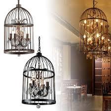 vintage iron birdcage crystal chandelier light lamp restaurant home decor