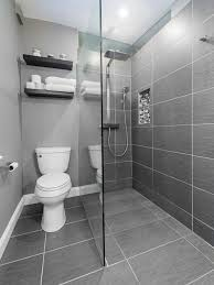 Small modern master gray tile and ceramic tile ceramic floor walk-in shower  idea in