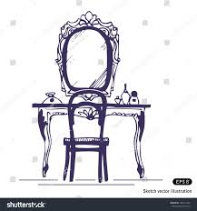 hand mirror sketch. Dressing Table And Mirror. Hand Drawn Sketch Illustration Isolated On White Background Mirror
