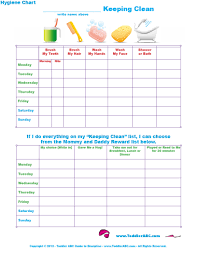 free printable charts and checklists. Daily Hygiene Chart Free Printable Charts And Checklists