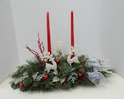 Traditional Christmas Holiday Silk Flower Arrangement Centerpiece With  Candles #Handcrafted