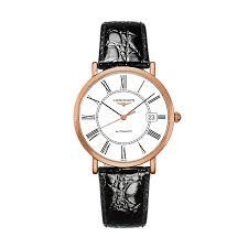 longines men s 18ct rose gold black leather strap watch ernest jones longines men s 18ct rose gold black leather strap watch product number 1298097