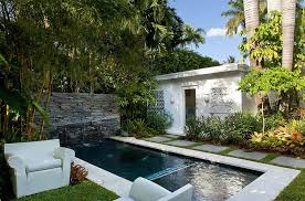 image of small pool house garden