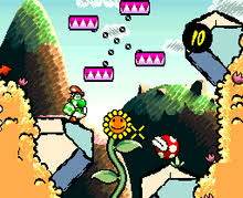 yoshi aims an egg at a piranha plant the timer in the top right corner will count down if mario falls off his back the game has a hand drawn