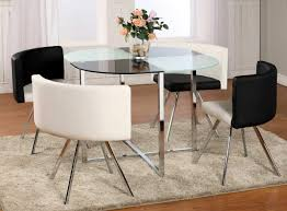 round contemporary dining room sets. Dining Room : Square Table With Round Edge White And Black Coloured Glass Chairs Of Contemporary Sets Match The Grey Carpet Also Orange T
